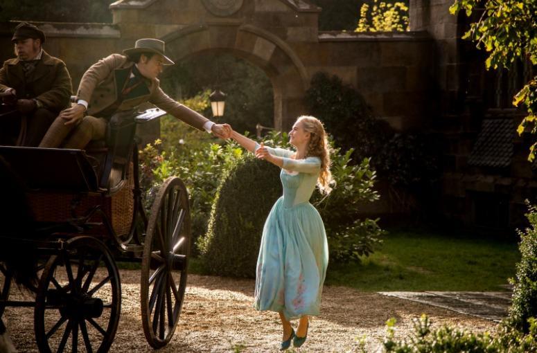 ABOVE: Lily James as Cinderella and Ben Chaplin as Cinderella 's father. CREDIT: Cinderella (2015)