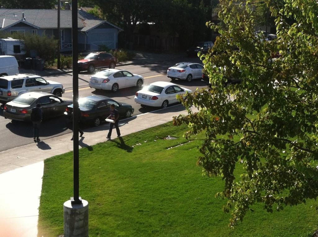 Student traffic exiting the parking lot