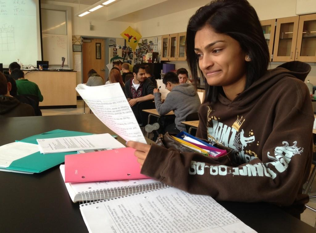ABOVE: Sereena Patel studying for her AP Psychology class, during her TA period.