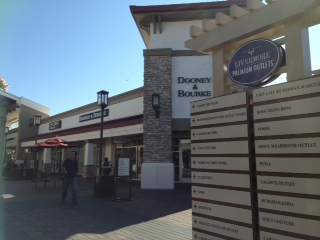 Shoppers walking around at the Livermore Outlets