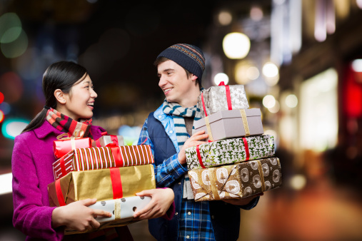 Holiday Shoppers with their perfectly wrapped gifts.