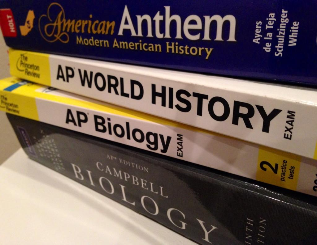 ABOVE: Books taken from college prep courses, as well as AP courses.