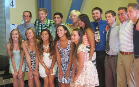 ABOVE: Seniors and coaches at the swim banquet