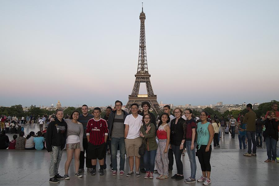 DHS students at the Eiffel Tower