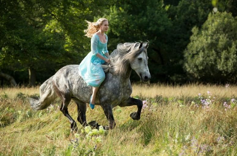 ABOVE: Cinderella riding on a horse. CREDIT: Cinderella (2015)