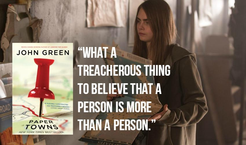 Paper Towns book cover, screencap, and book quote.