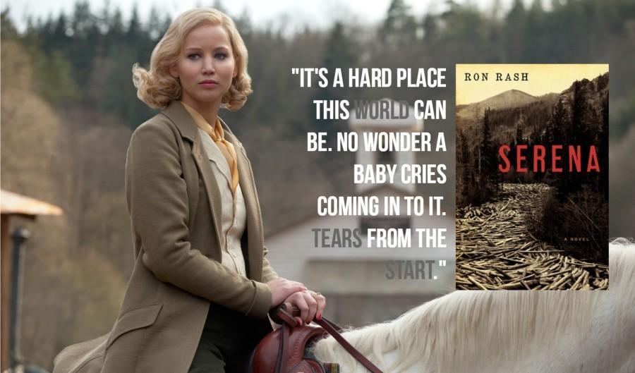 Serena book cover, movie screencap, and book quote.