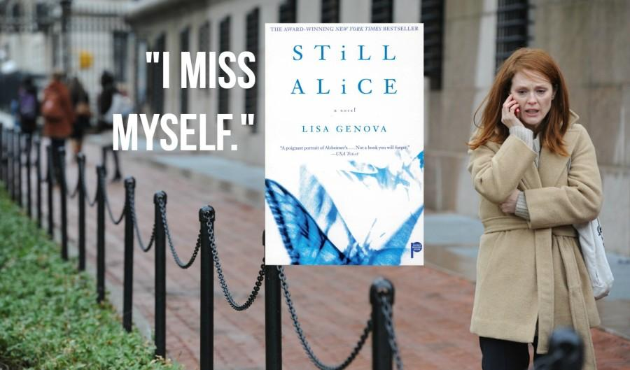 Still Alice book cover, movie screencap, and book quote.