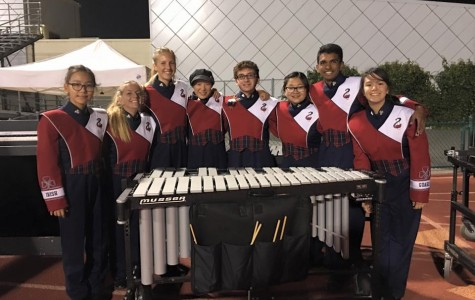 The Front Ensemble at the competition. In order from left to right: Jiwon Han, Carly Koch, Alyssa Kaatmann, Laura Wang, John Lonergan, Winnie Xu, Akshit Annadi, Payton Chow.