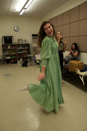 """Claire Kantz who plays Mishkin in """"Fools"""" poses for the camera while getting ready for rehearsals."""