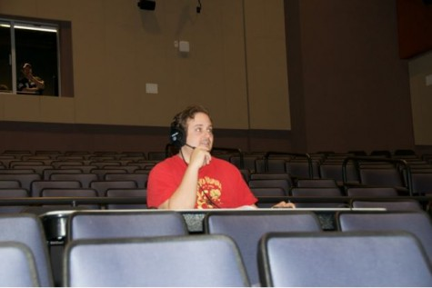 """Director Scott DiLorenzo watches the opening cast of """"Fools"""" during on Saturday during Tech Week."""