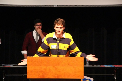 Former DHS alumni, tournament emcee, Joshua Price, welcoming everyone to the tournament (Photo Credit: James Wang)