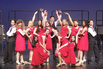 During Tuesday's Performance, show choir sang and danced. Members of show choir include: Rachel Bonner, Steven Cheng, Erin Cornelius, Nicole Dayton, John Fulgado, Virginia Gomes, Kathleen Green, Shannon Greenhouse, Caroline all, Katherine Holtzapple, Rheanna Mitten, Jared Nugent, Suelyn Pewiltt, Cameryn Plummer, Jonah Wendelton, and Akemi WIlliams