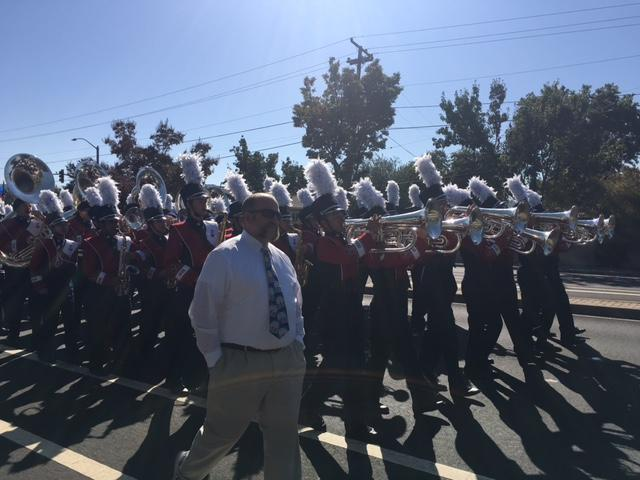 DHS Irish Guard marches in the homecoming parade.