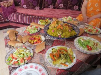 Food prepared by Leesa's host aunt, Fatima, on Eid al-Fitr