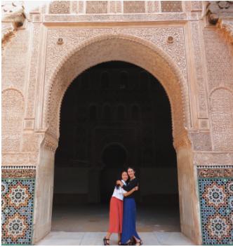 Leesa's friend Amanda and herself at Ben Youssef Medrasa in Marrakech