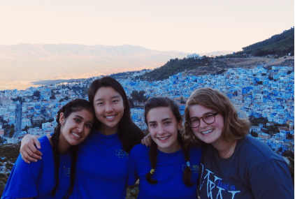 Leesa (second to left) and her friends at the Spanish Mosque in Chefchaouen