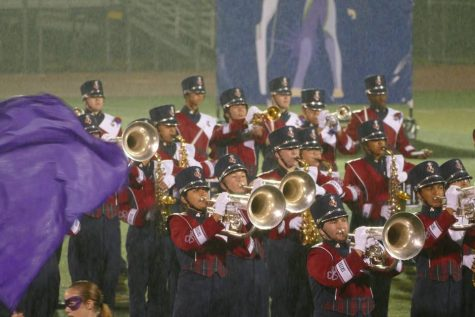 Here, the brass and saxophones are shown making a block.