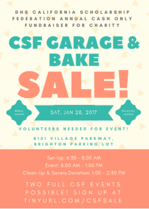 Dublin High CSF Seeking Volunteers and Donations for its Annual Bake & Garage Sale