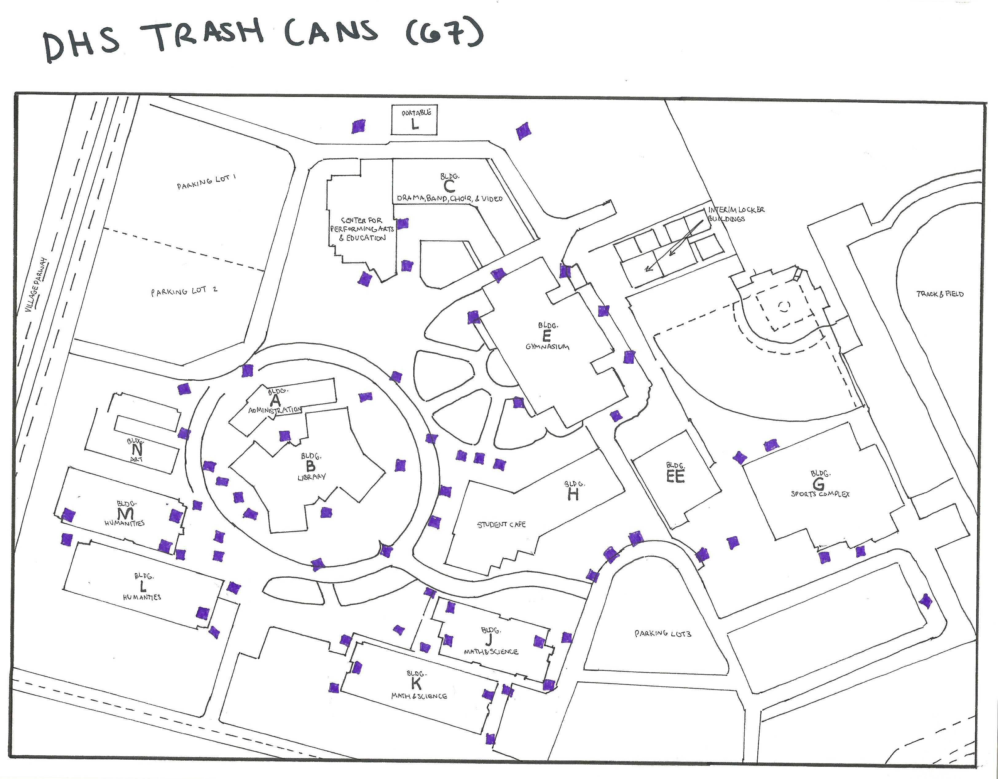 Above is a map of all the trash cans at DHS. Before you throw away part of your lunch, check and see how much food is already thrown away.