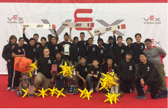 Members of Gael Force Robotics Teams 5327B, 5327C,and 5327W pose with their awards.