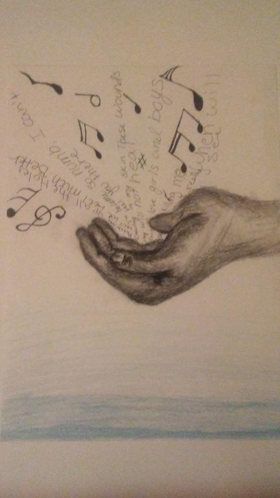 """""""Let the Music Describe Me"""" Charcoal, Graphite, Ink, Sharpie, and Color pencil '9x12' 3.1.17"""