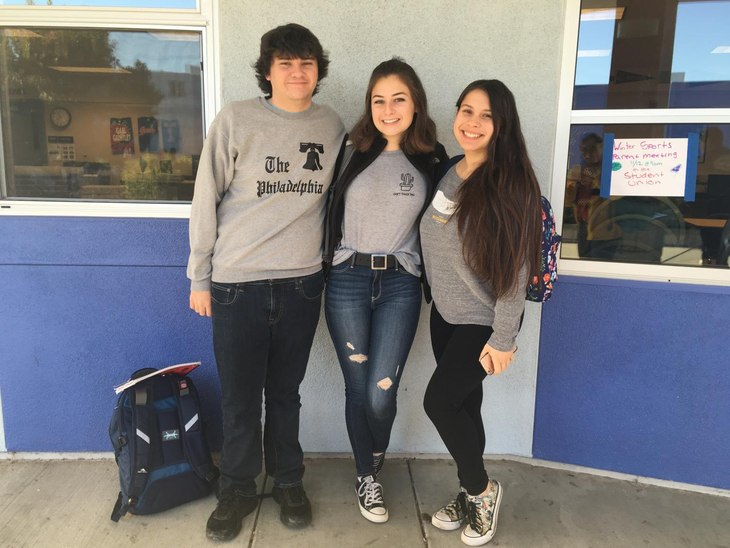 Seniors Noah Bradley, Nicki Butler, and Simonne Campos, who are all a few of the wonderful student-directors for this year, pose for a photo.