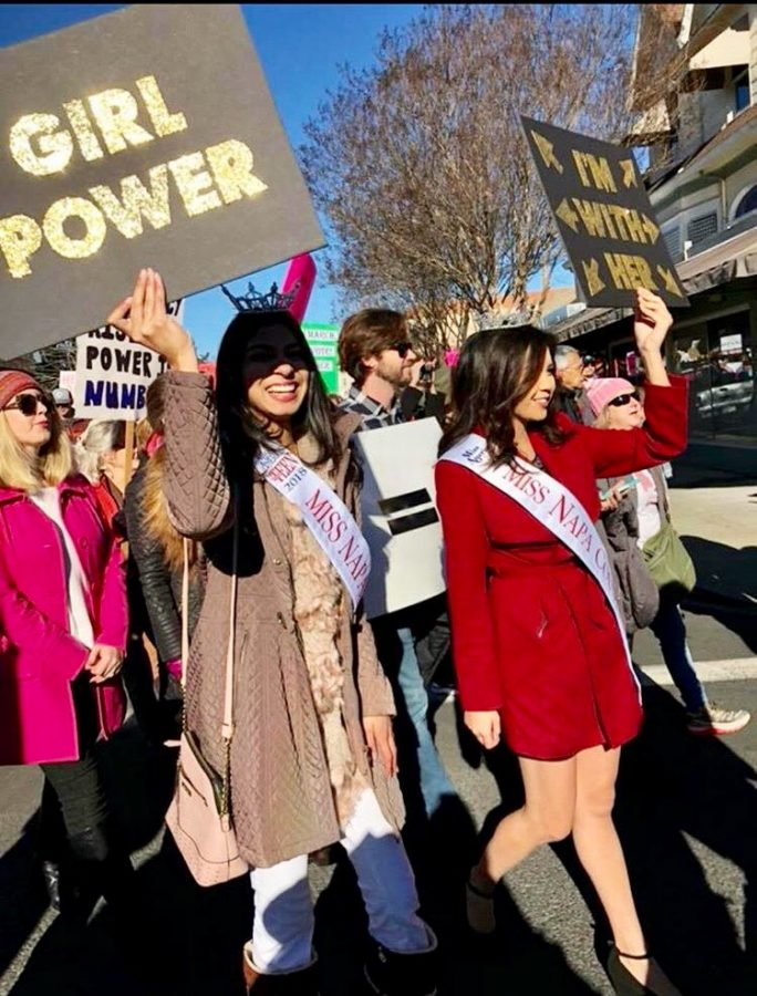 Vyas (left) at the Women's March in Napa, California.