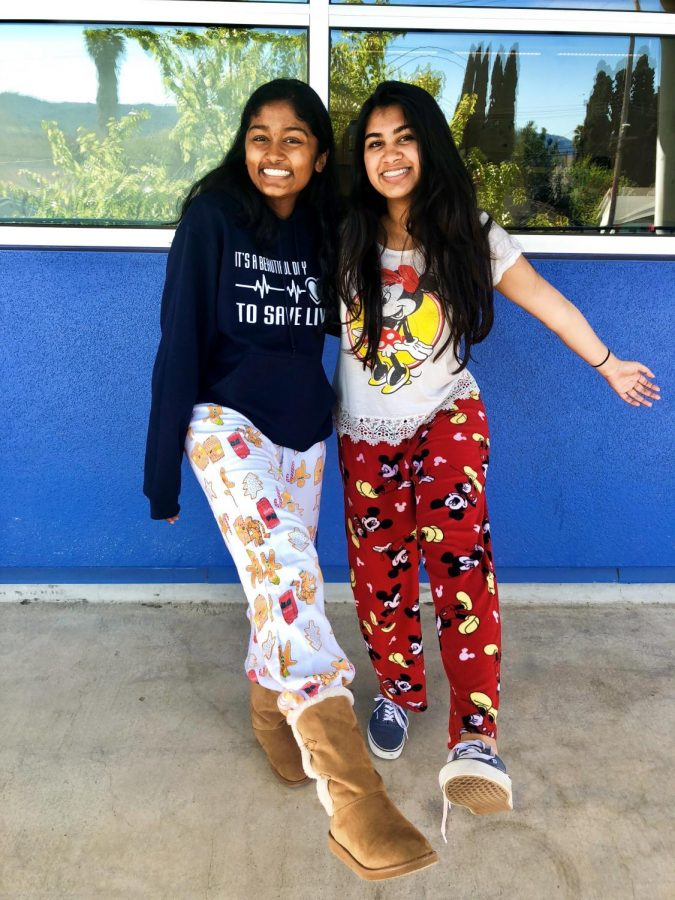 Sophomores+Tinni+Mukherjee+and+Anushka+Nikhil+showed+up+to+school+comfy+in+their+PJs+on+Pajama+Day.