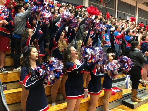 DHS students and the Song Team cheer the basketball team on at Silent Night where they beat Cal High by a margin of around 10 points. Photo courtesy of Sharlene Sabonis.