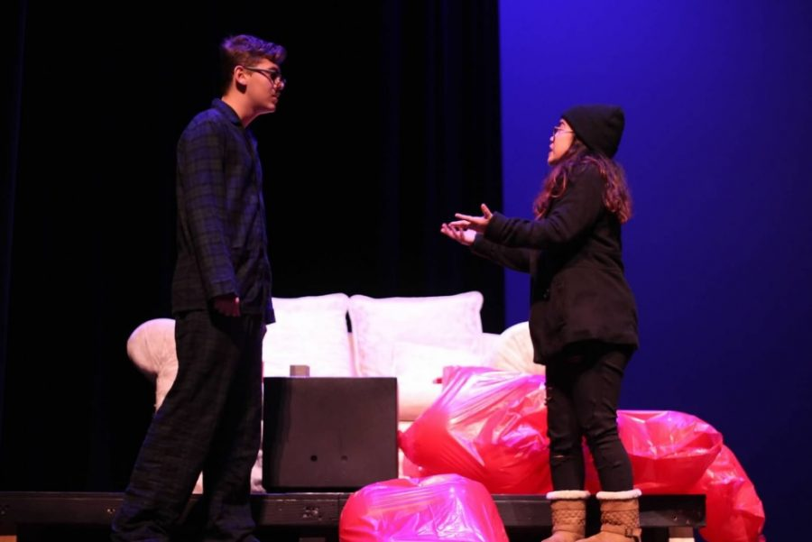 """Gayle (Hannah Bumanlag) confronts Lendall (Tucker Price) after dropping off bags of """"all the love he gave her."""