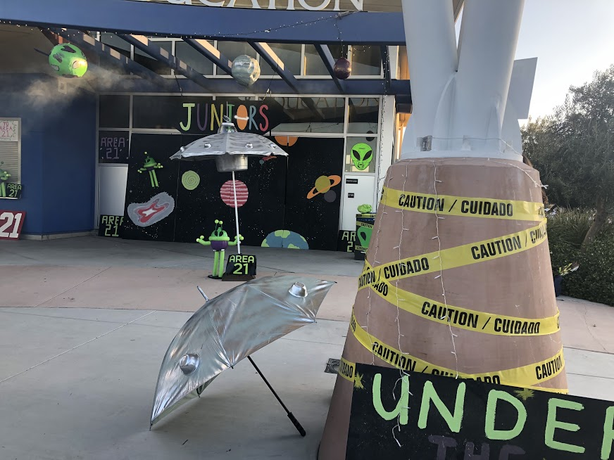 The juniors encapsulated the aliens theme with caution tape, posters, and Area 51 posters.