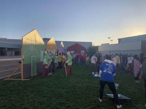The seniors recreated the doors from Monsters Inc. University as well as the stands advertising college clubs and Greek life.