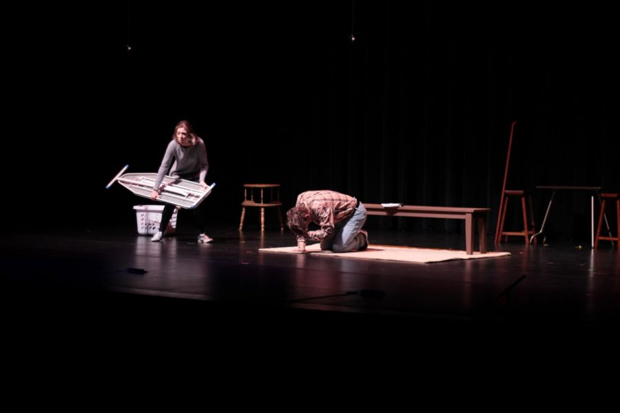 """Steve (Tucker Price) is almost knocked over by his fellow tenant Marvalyn (Caitlyn Sandamenico and Tina Ho) in """"This Hurts"""", directed by Arsh Goyal."""