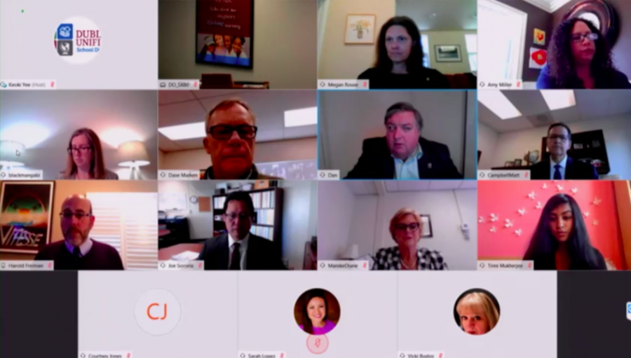 The school board and district officials connect through video conferencing. While a live audience wasn't permitted, community members were able to access a live stream and submit public comments via email.