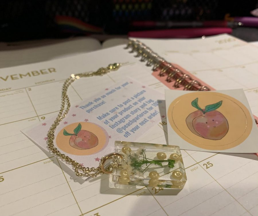 A hand-made necklace from the Peach Parlor.