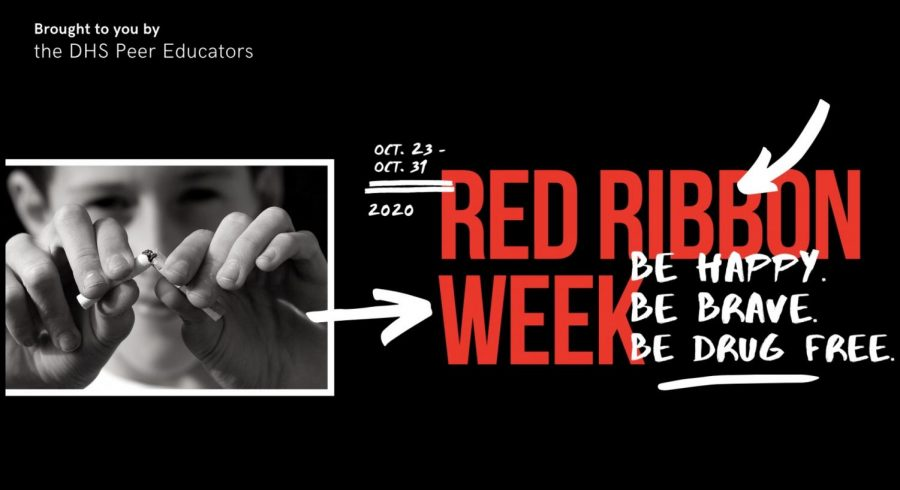 The Zoom background created by the DHS Peer Educators to raise awareness about Red Ribbon Week