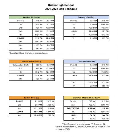 Official Bell Schedule for the 2021-2022 school year