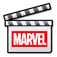 An icon of a film tape with the Marvel Logo