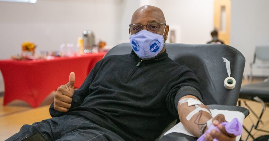 A donor at a blood drive (Photo courtesy of American Red Cross)