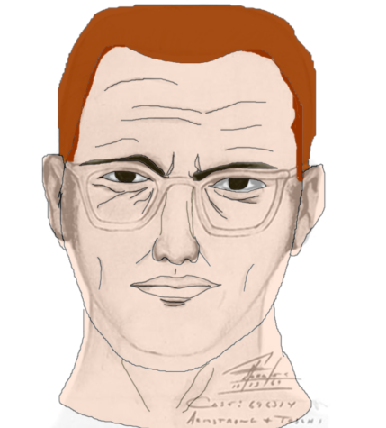 A colorized version of an infamous sketch of the Zodiac killer