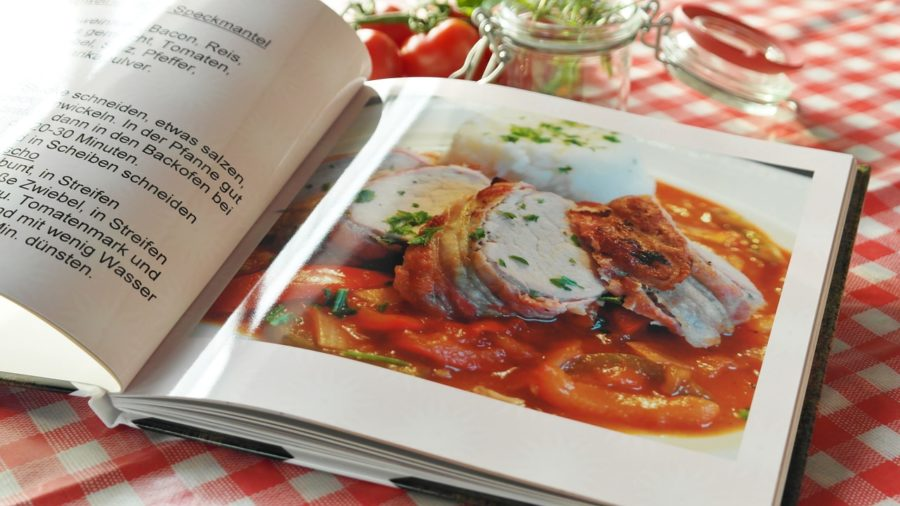 A typical cookbook, full of various recipes and enticing photos